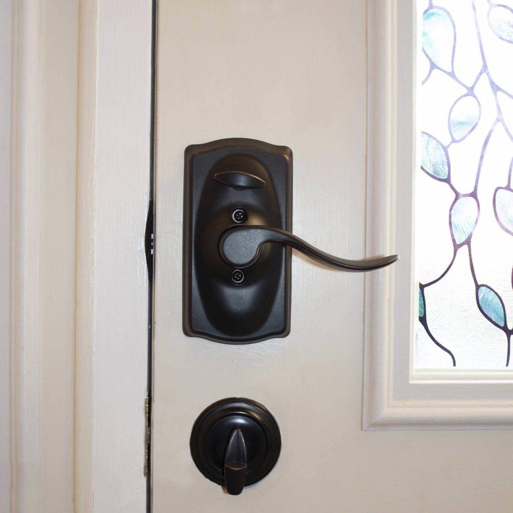 black stylish door lock